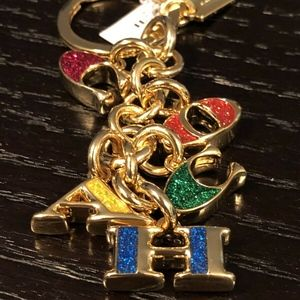 COACH GOLD LETTERS  KEY RING FOB BAG CHARM
